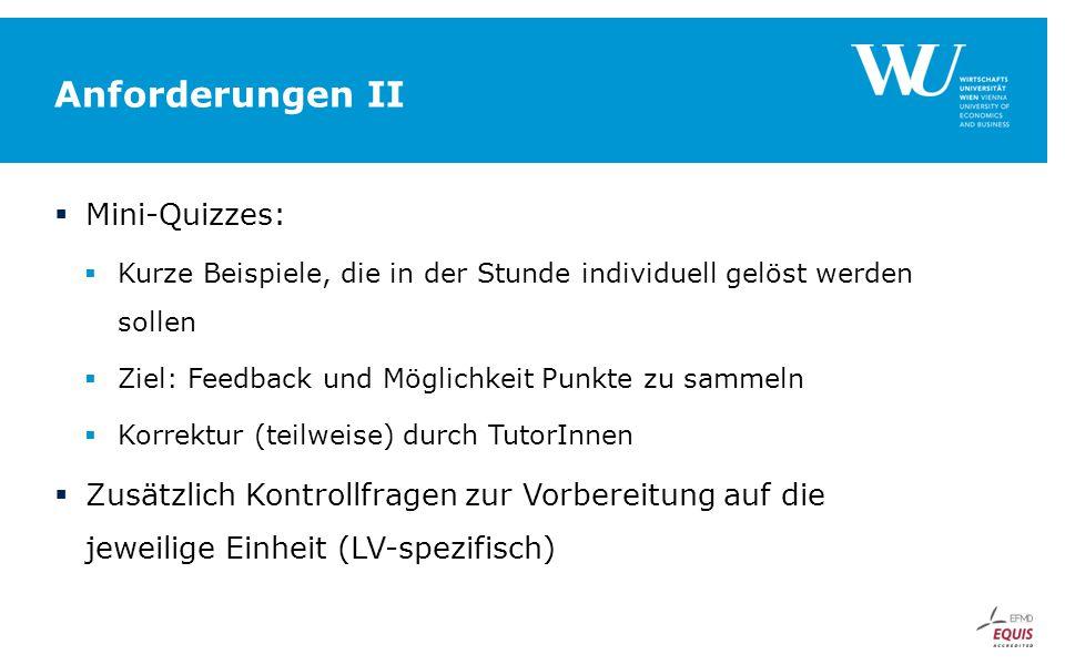 Anforderungen II Mini-Quizzes: