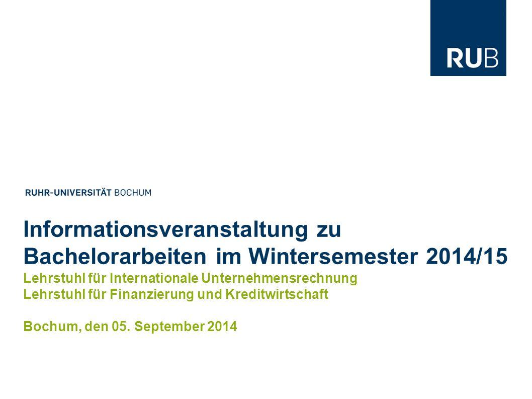 Informationsveranstaltung zu Bachelorarbeiten im Wintersemester 2014/15