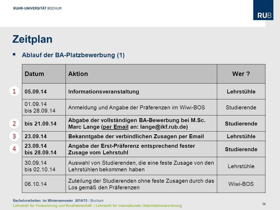 Zeitplan 1 2 3 4 Ablauf der BA-Platzbewerbung (1) Datum Aktion Wer