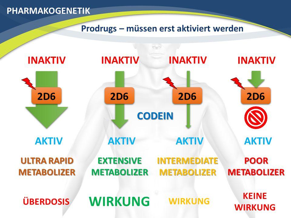 WIRKUNG INAKTIV INAKTIV INAKTIV INAKTIV 2D6 2D6 2D6 2D6 CODEIN AKTIV