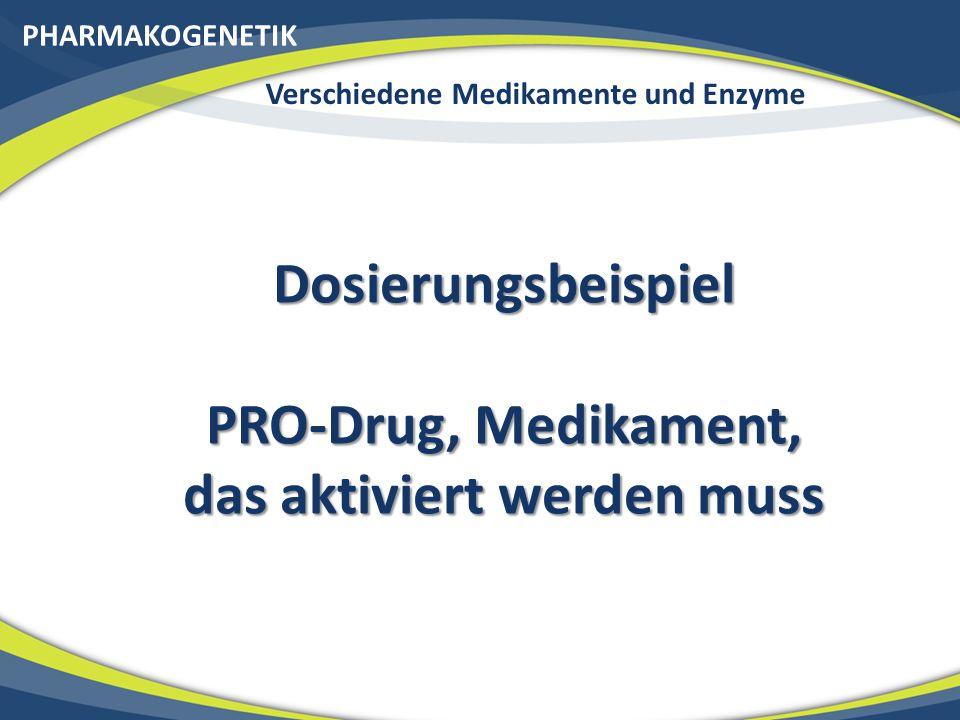 Dosierungsbeispiel PRO-Drug, Medikament, das aktiviert werden muss