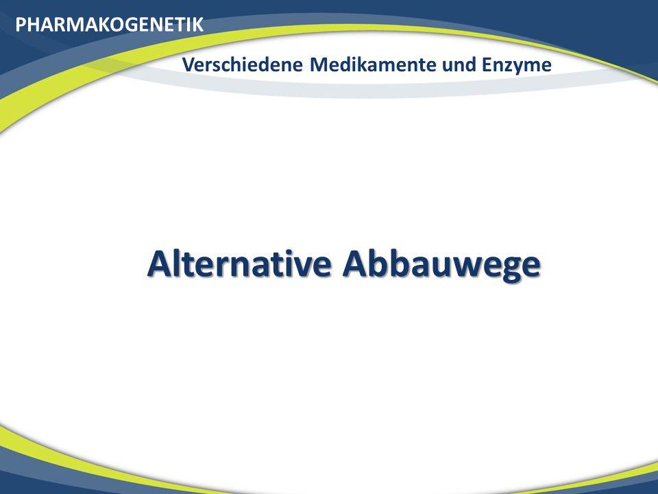 Verschiedene Medikamente und Enzyme Alternative Abbauwege