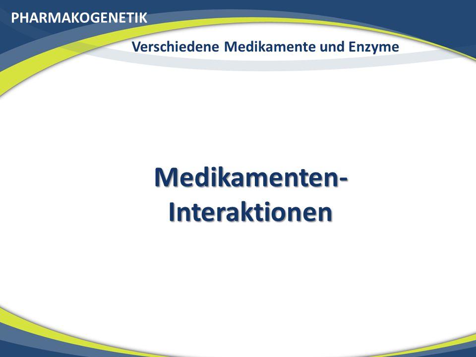 Verschiedene Medikamente und Enzyme Medikamenten-Interaktionen