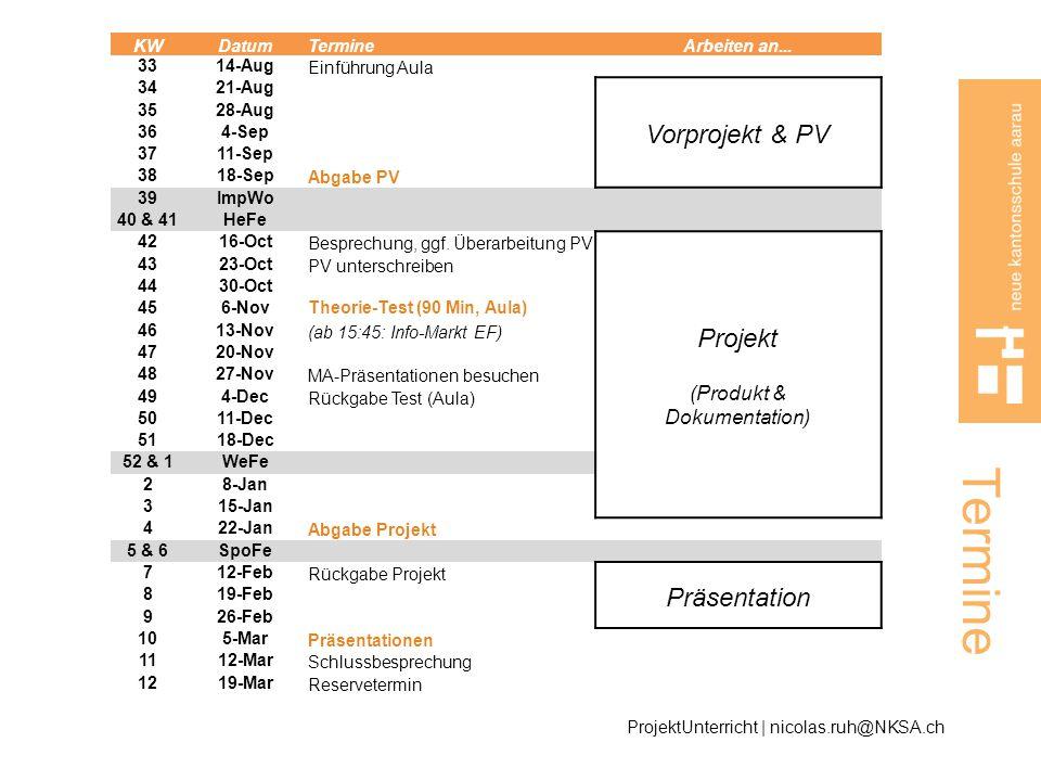 Termine Vorprojekt & PV Projekt Präsentation (Produkt & Dokumentation)