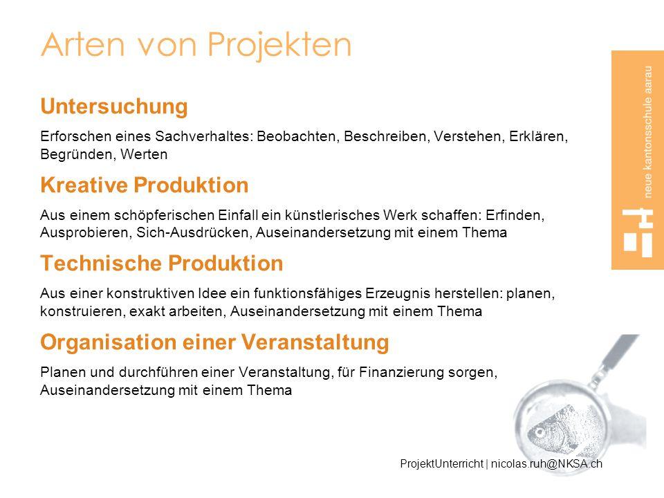 Arten von Projekten Untersuchung Kreative Produktion