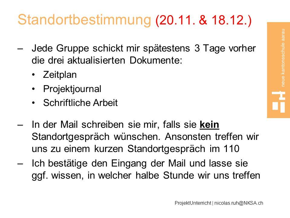 Standortbestimmung (20.11. & 18.12.)
