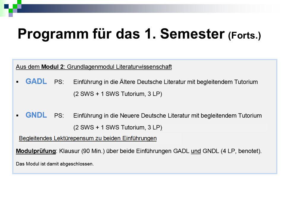 Programm für das 1. Semester (Forts.)