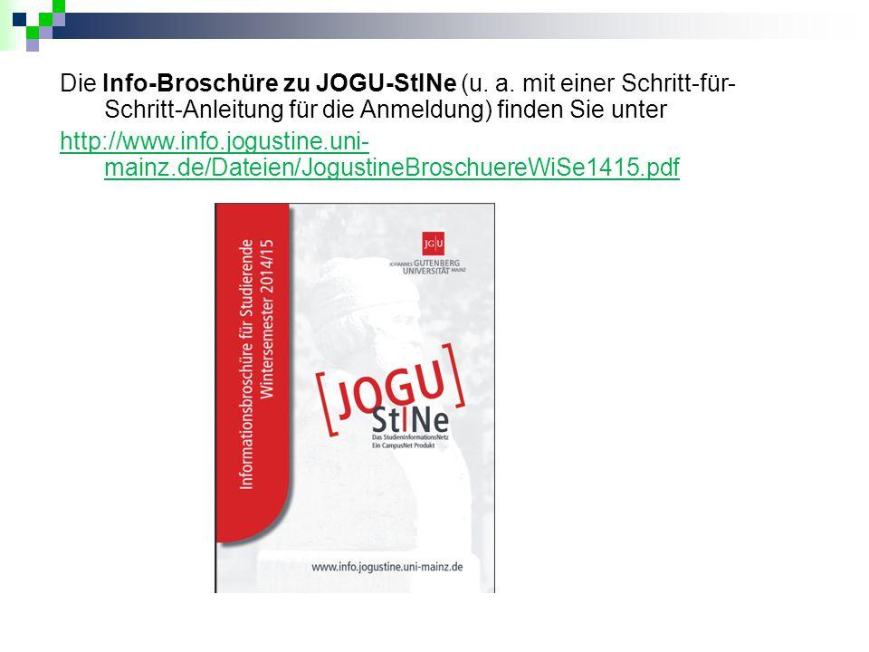 Die Info-Broschüre zu JOGU-StINe (u. a