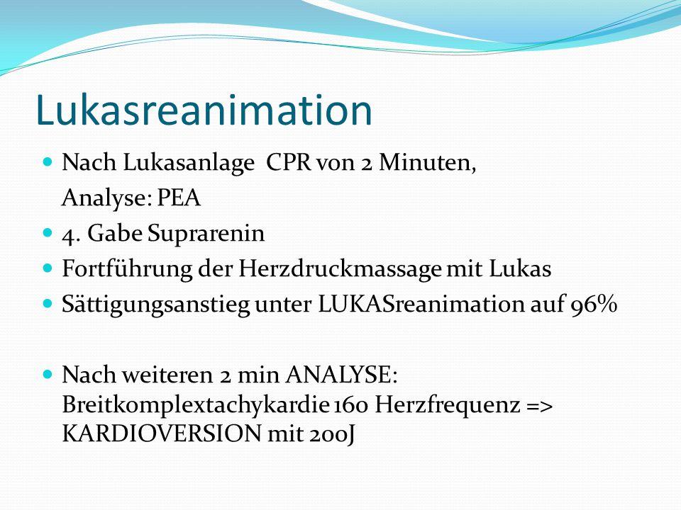 Lukasreanimation Nach Lukasanlage CPR von 2 Minuten, Analyse: PEA