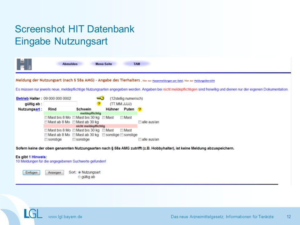 Screenshot HIT Datenbank Eingabe Nutzungsart