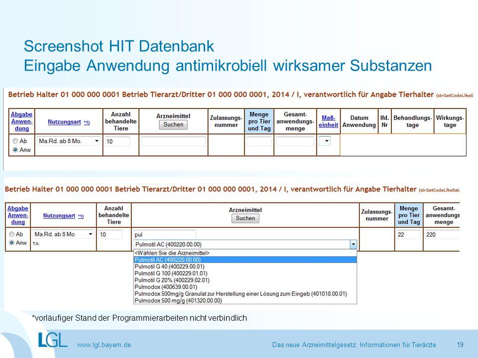 Screenshot HIT Datenbank Eingabe Anwendung antimikrobiell wirksamer Substanzen