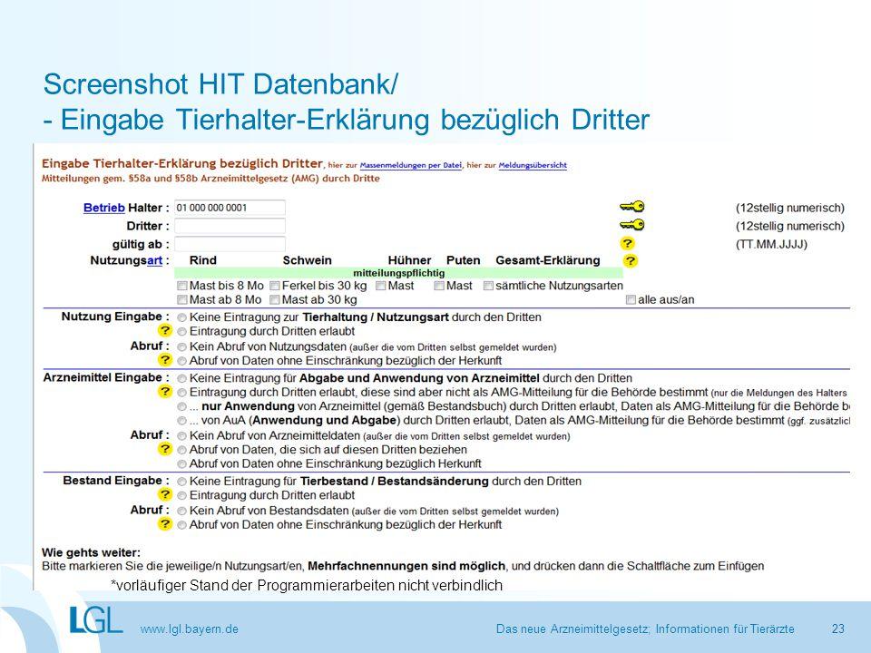 Screenshot HIT Datenbank/ - Eingabe Tierhalter-Erklärung bezüglich Dritter