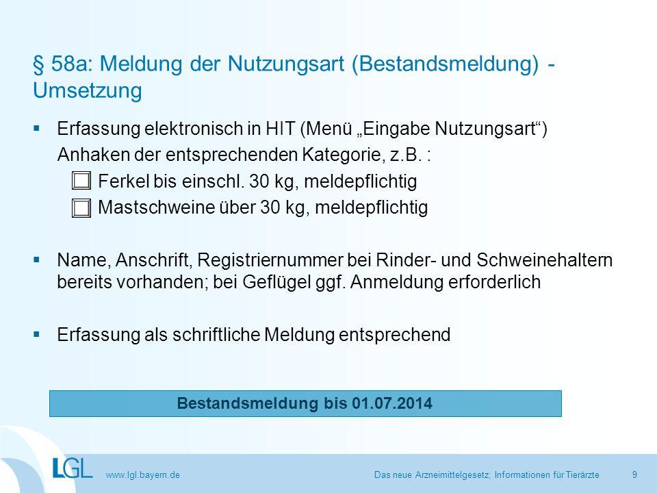 § 58a: Meldung der Nutzungsart (Bestandsmeldung) - Umsetzung
