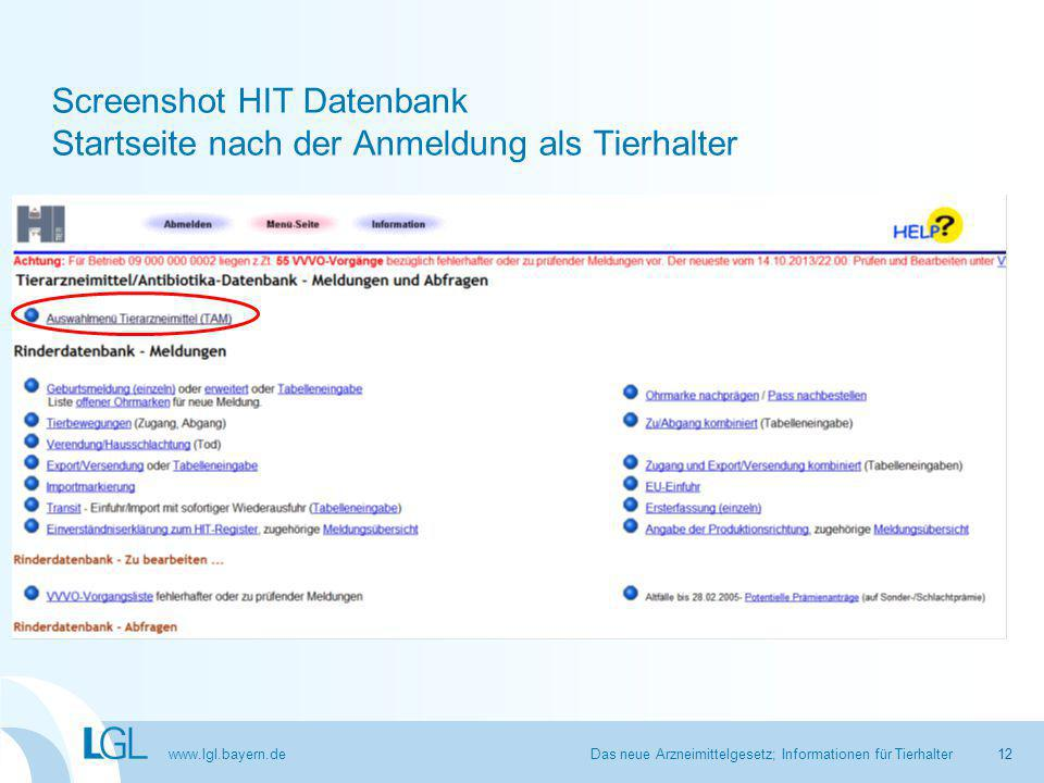 Screenshot HIT Datenbank Startseite nach der Anmeldung als Tierhalter