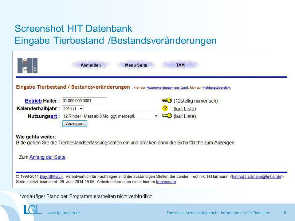 Screenshot HIT Datenbank Eingabe Tierbestand /Bestandsveränderungen
