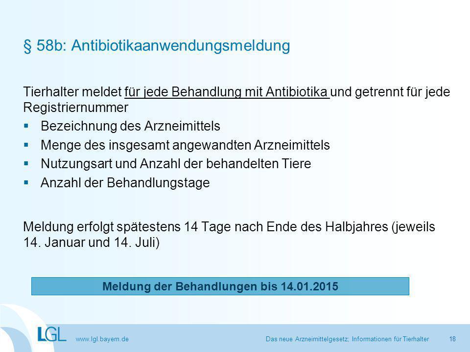 § 58b: Antibiotikaanwendungsmeldung