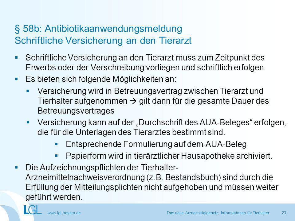 § 58b: Antibiotikaanwendungsmeldung Schriftliche Versicherung an den Tierarzt