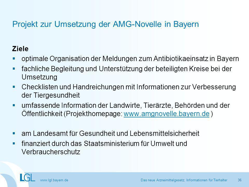 Projekt zur Umsetzung der AMG-Novelle in Bayern