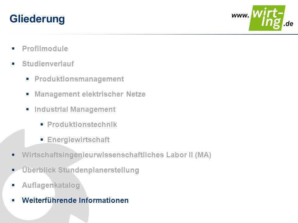 Gliederung Profilmodule Studienverlauf Produktionsmanagement