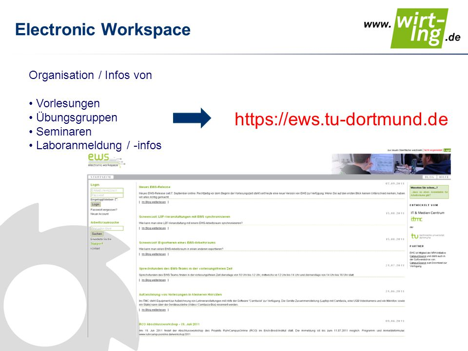 https://ews.tu-dortmund.de Electronic Workspace
