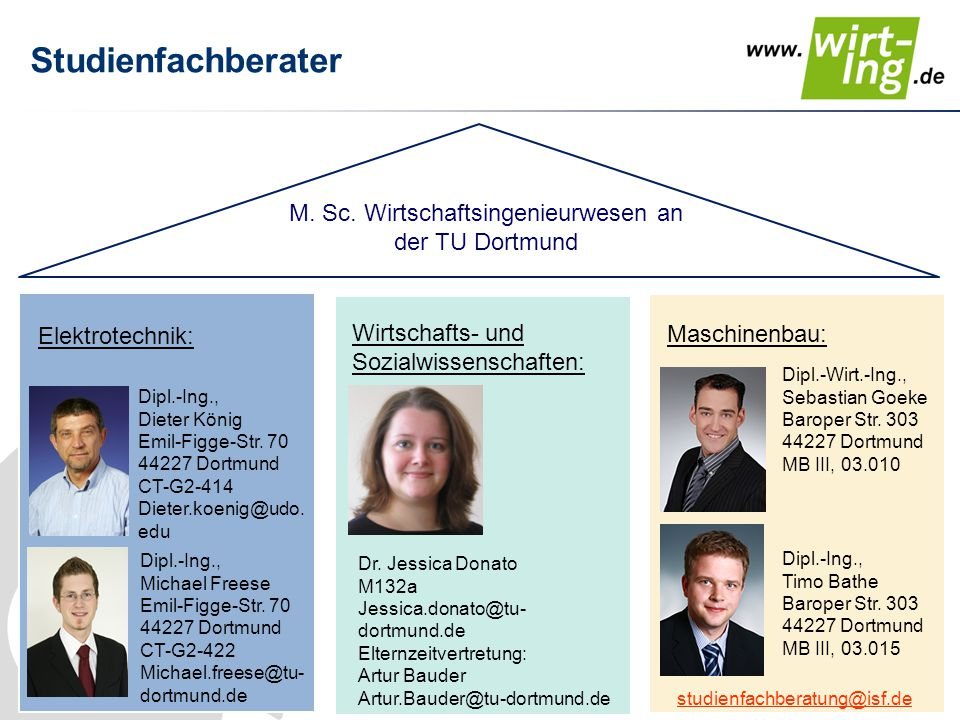 M. Sc. Wirtschaftsingenieurwesen an der TU Dortmund