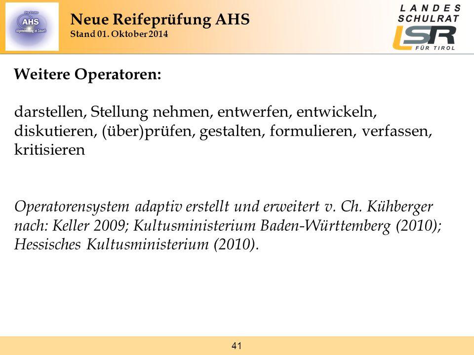 Neue Reifeprüfung AHS Stand 01. Oktober 2014