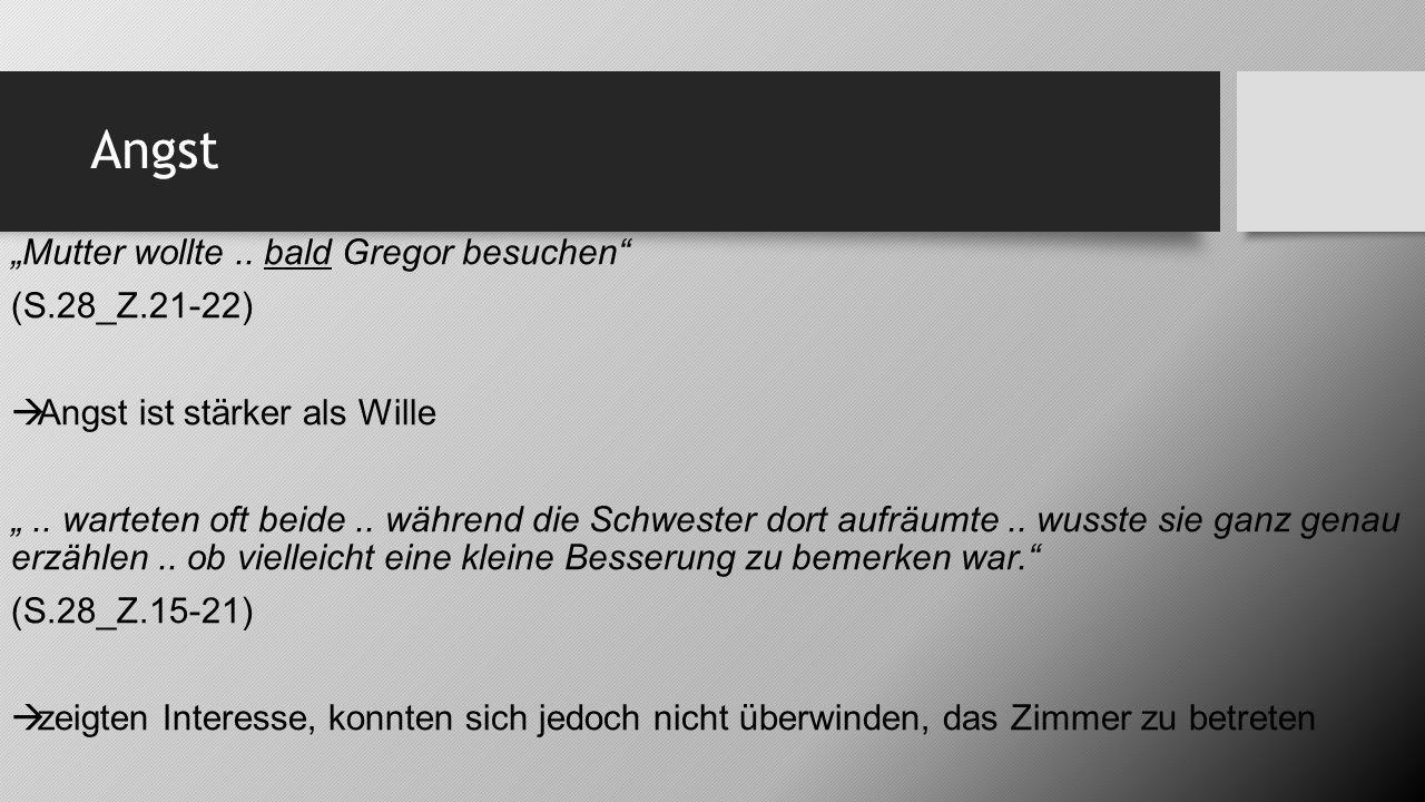 """Angst """"Mutter wollte .. bald Gregor besuchen (S.28_Z.21-22)"""