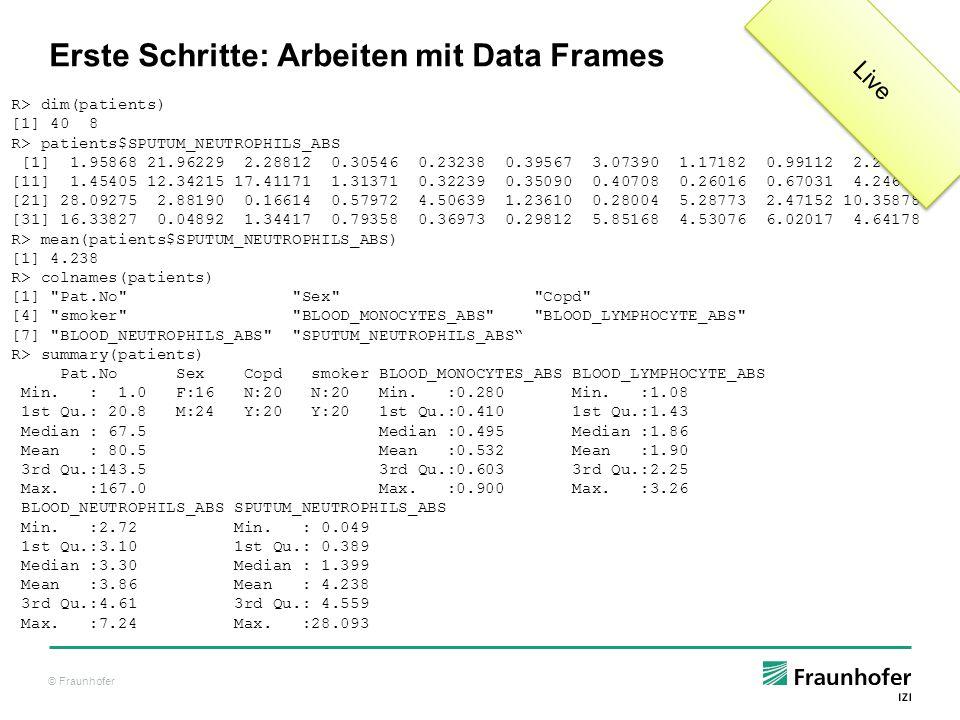 Erste Schritte: Arbeiten mit Data Frames