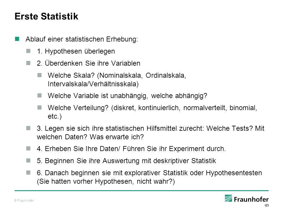 Erste Statistik Ablauf einer statistischen Erhebung: