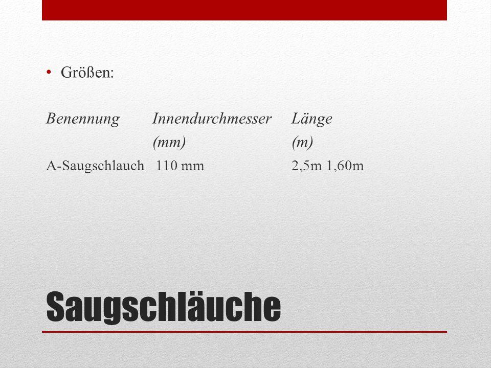 Saugschläuche Größen: Benennung Innendurchmesser Länge (mm) (m)