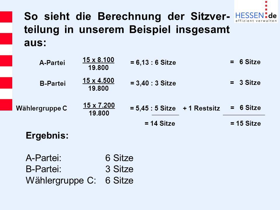 So sieht die Berechnung der Sitzver-teilung in unserem Beispiel insgesamt aus: