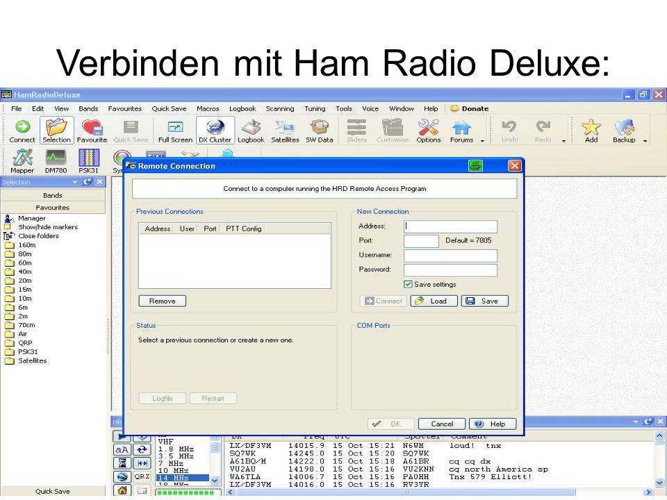Verbinden mit Ham Radio Deluxe: