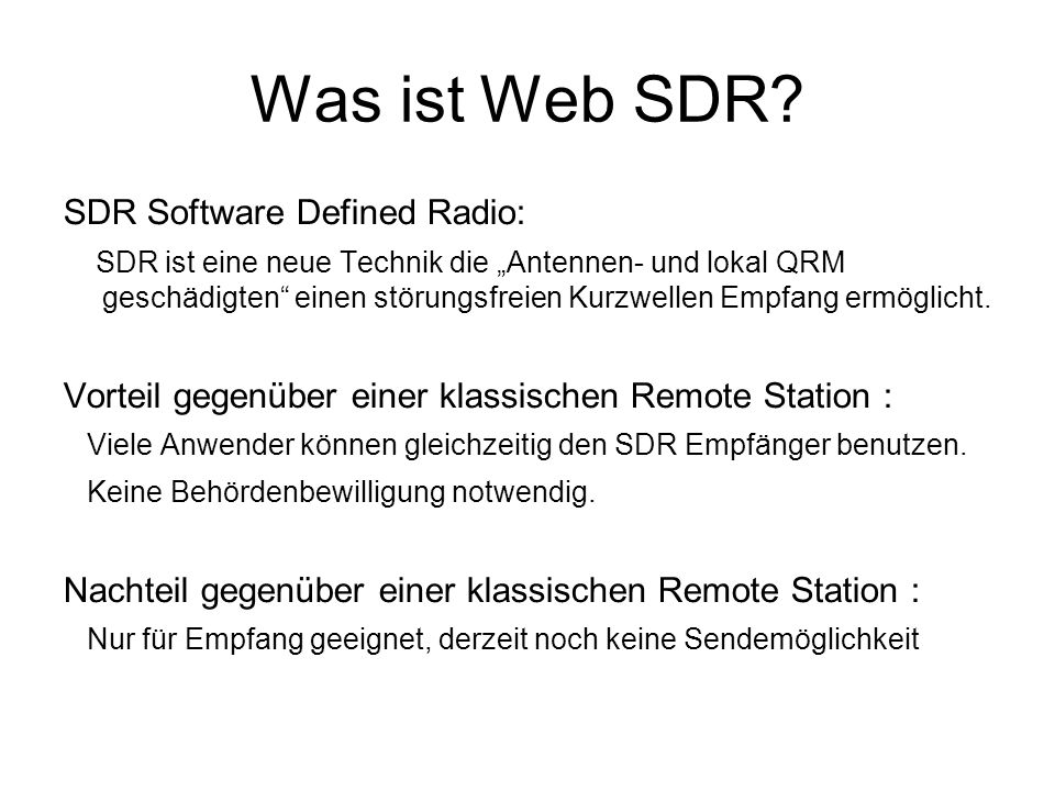 Was ist Web SDR SDR Software Defined Radio: