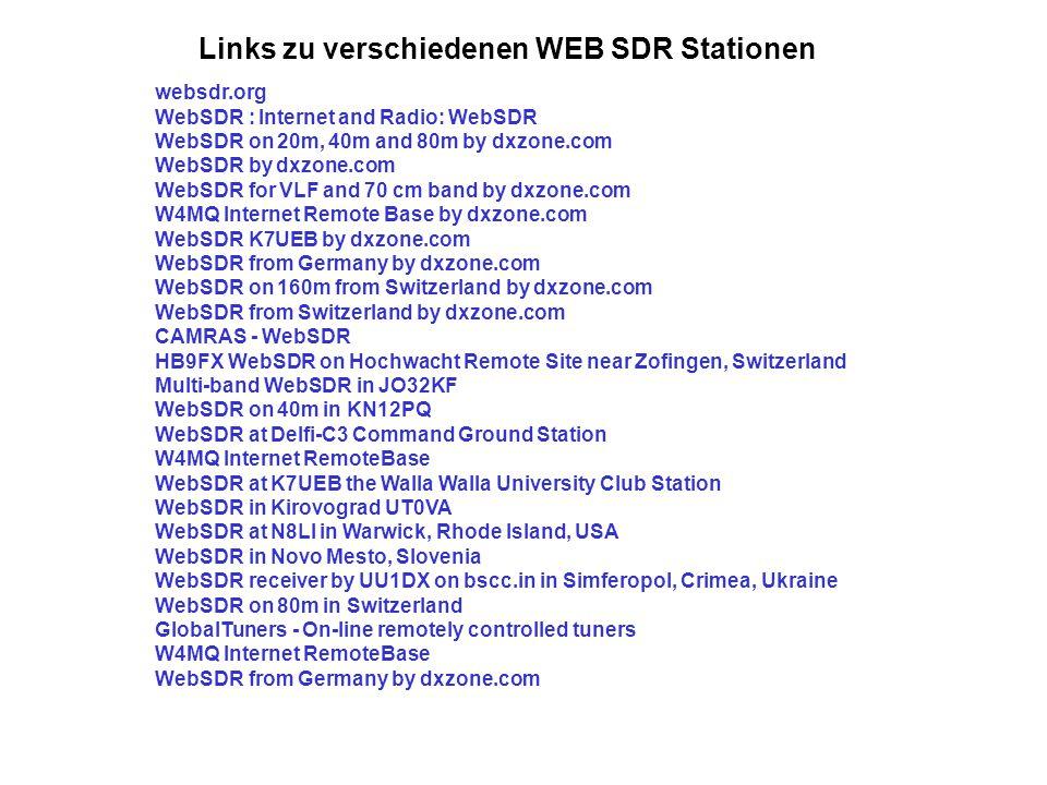 Links zu verschiedenen WEB SDR Stationen