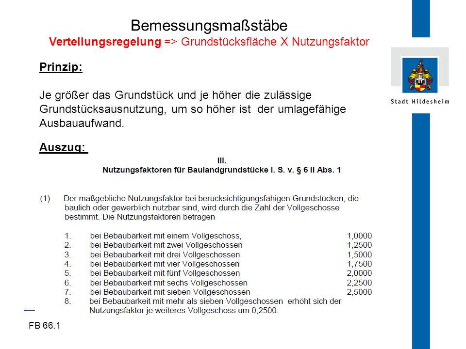 Verteilungsregelung => Grundstücksfläche X Nutzungsfaktor
