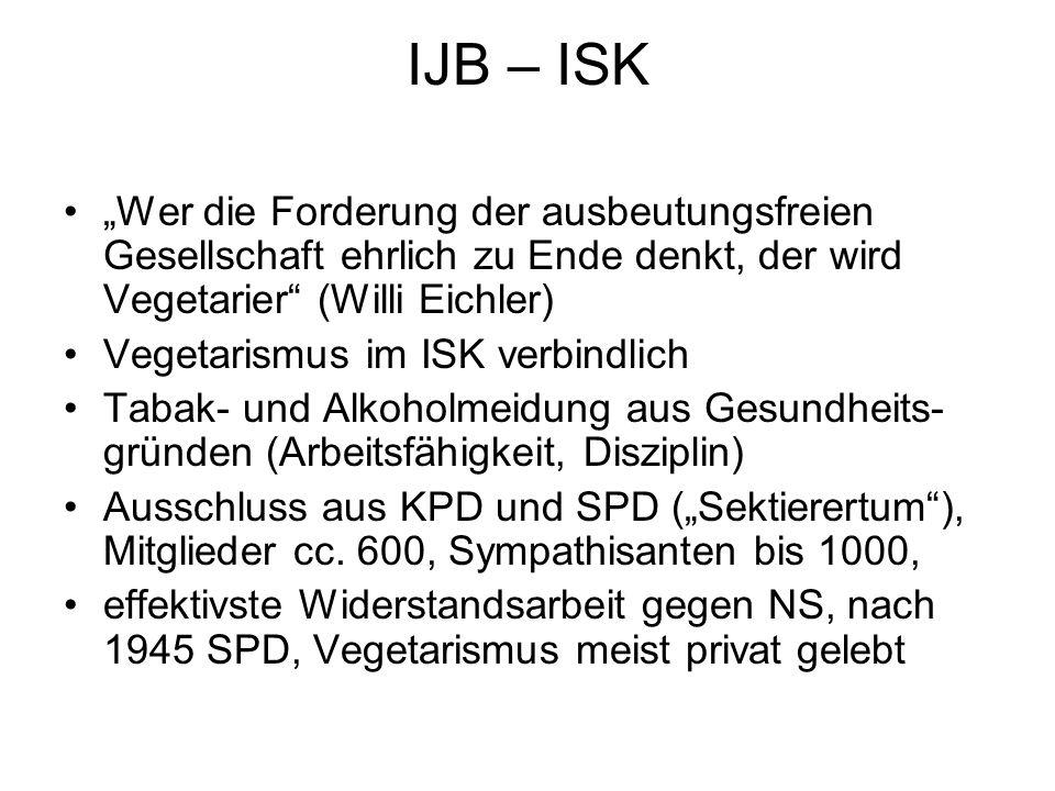 """IJB – ISK """"Wer die Forderung der ausbeutungsfreien Gesellschaft ehrlich zu Ende denkt, der wird Vegetarier (Willi Eichler)"""