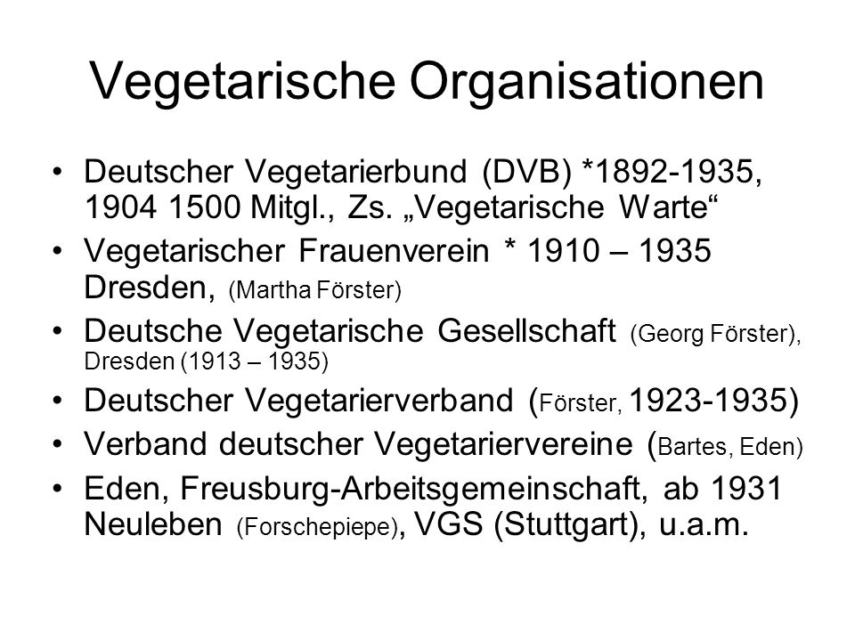 Vegetarische Organisationen