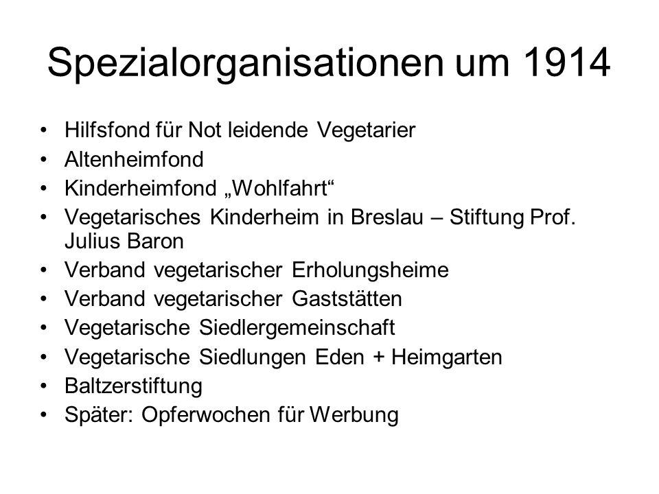 Spezialorganisationen um 1914