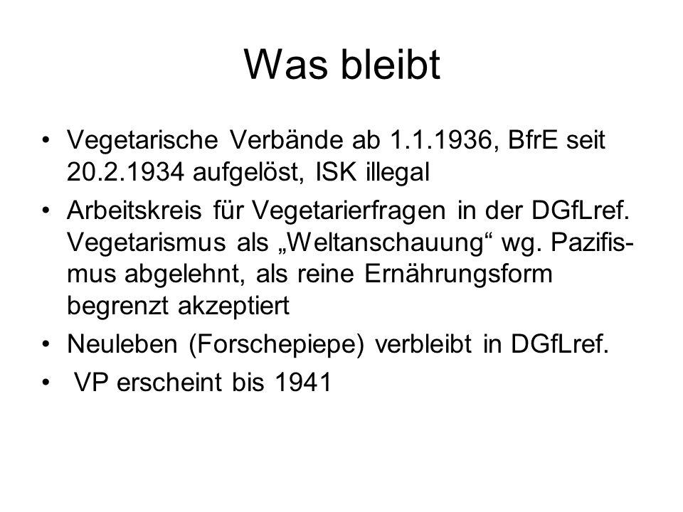 Was bleibt Vegetarische Verbände ab 1.1.1936, BfrE seit 20.2.1934 aufgelöst, ISK illegal.