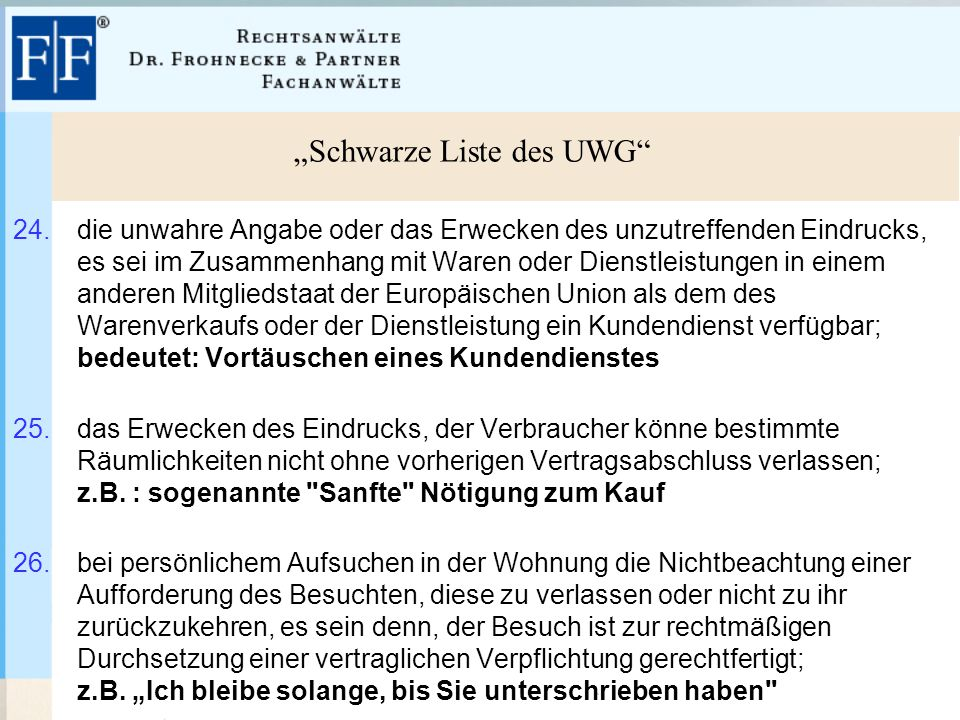 """""""Schwarze Liste des UWG"""