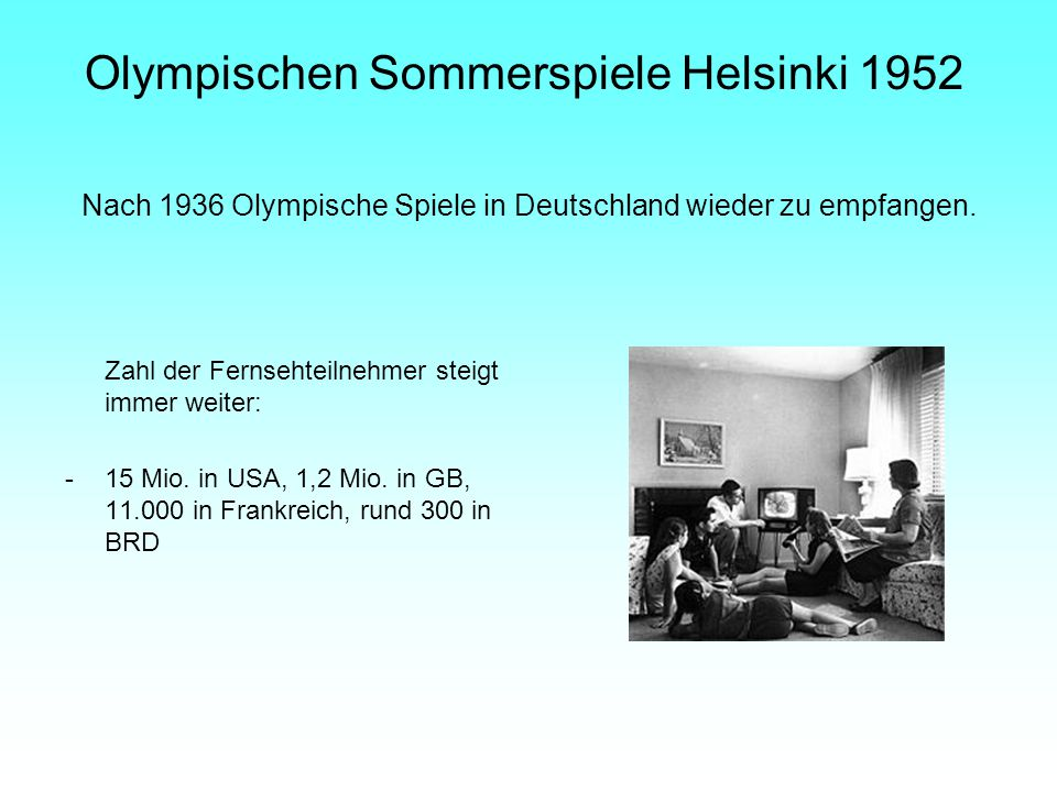 Nach 1936 Olympische Spiele in Deutschland wieder zu empfangen.