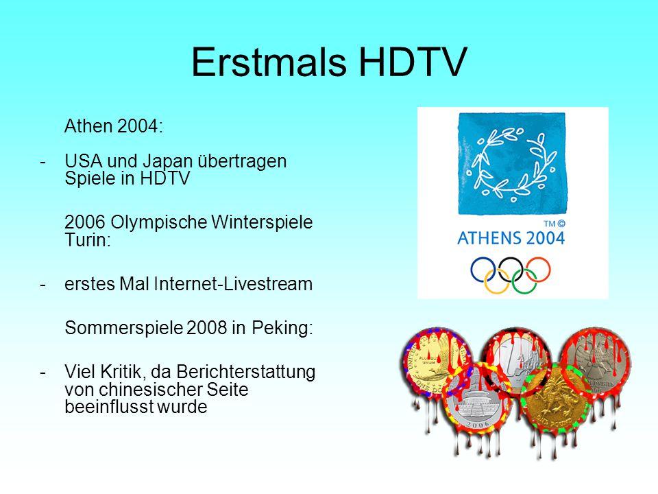 Erstmals HDTV Athen 2004: USA und Japan übertragen Spiele in HDTV