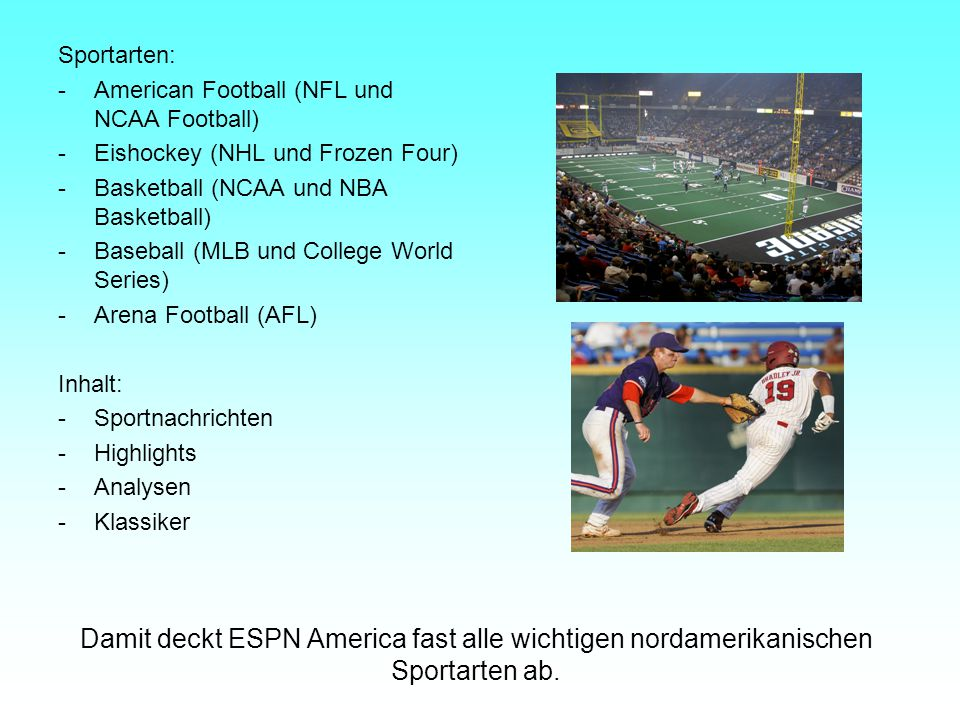 Sportarten: - American Football (NFL und NCAA Football) - Eishockey (NHL und Frozen Four) - Basketball (NCAA und NBA Basketball)