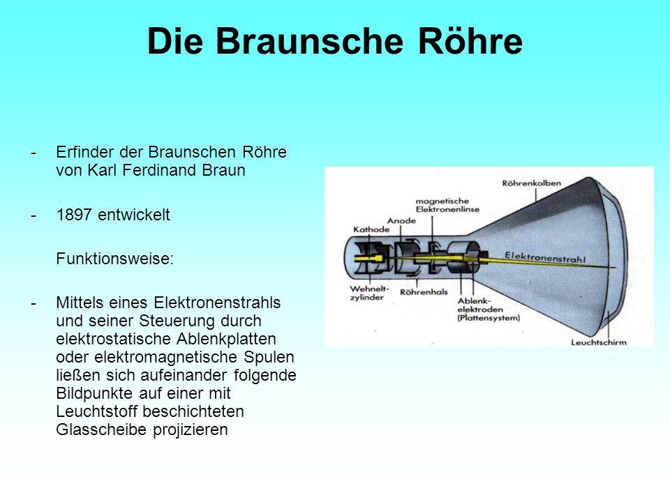 Die Braunsche Röhre - Erfinder der Braunschen Röhre von Karl Ferdinand Braun. 1897 entwickelt. Funktionsweise:
