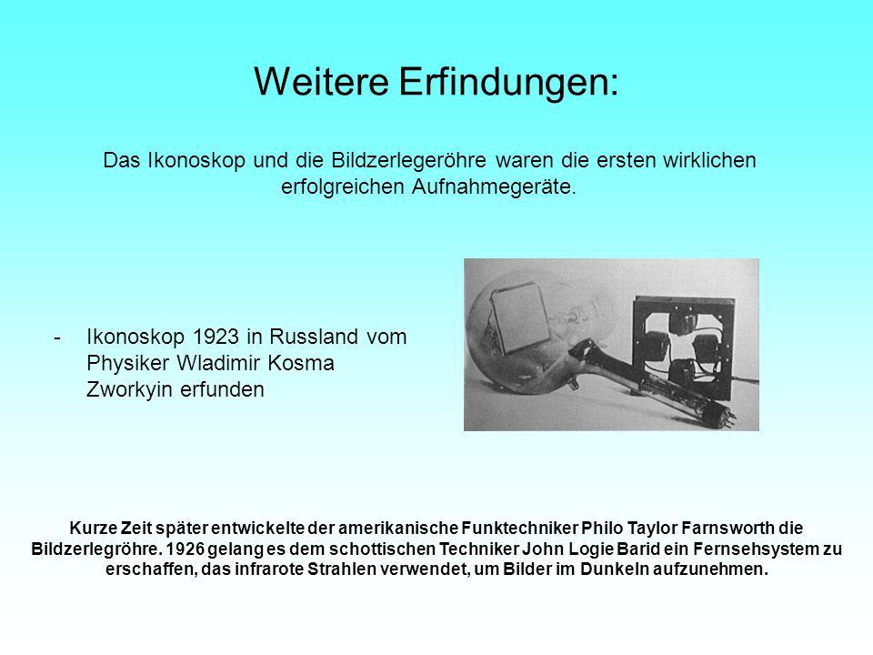 Weitere Erfindungen: Das Ikonoskop und die Bildzerlegeröhre waren die ersten wirklichen erfolgreichen Aufnahmegeräte.
