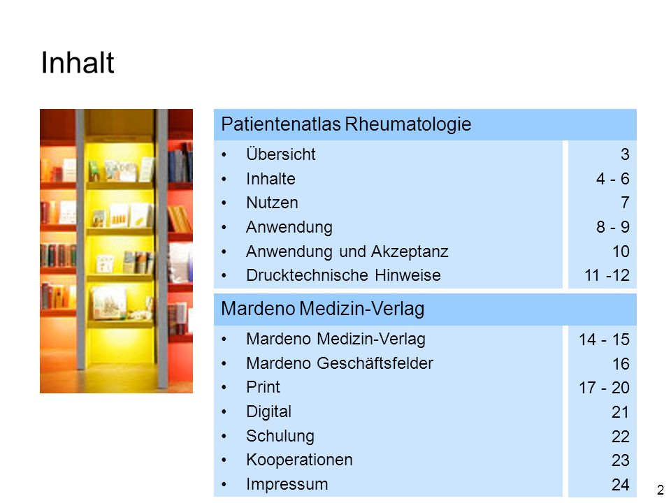Inhalt Patientenatlas Rheumatologie Mardeno Medizin-Verlag Übersicht