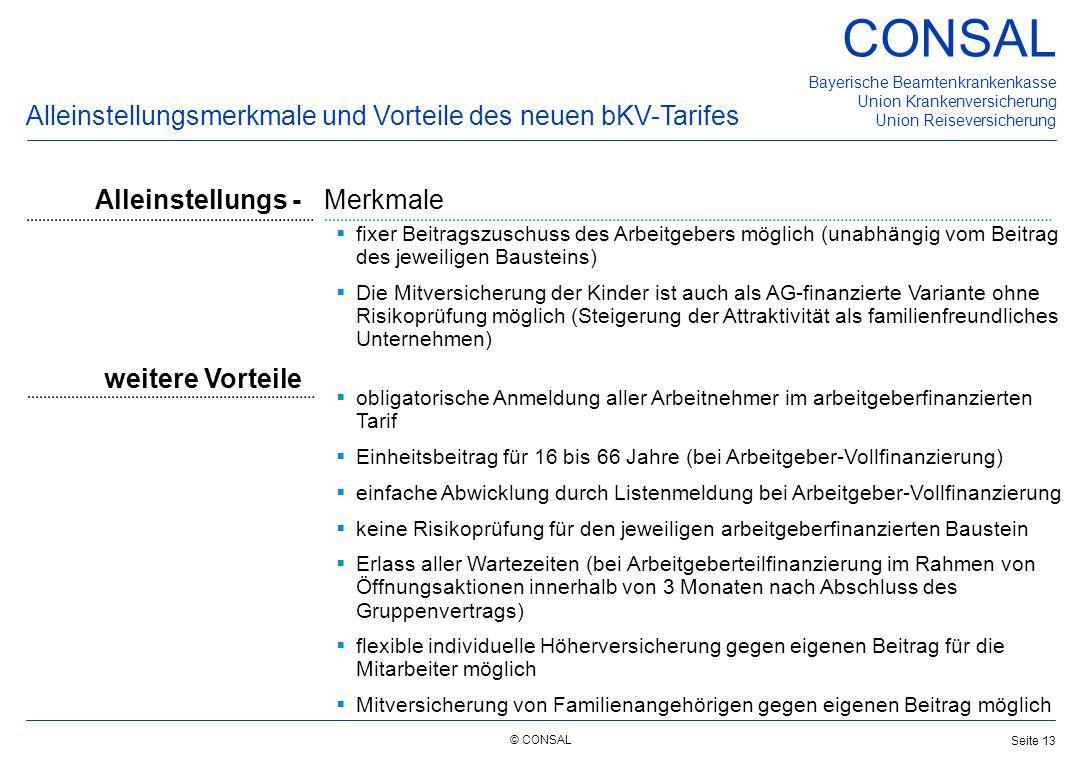 Alleinstellungsmerkmale und Vorteile des neuen bKV-Tarifes