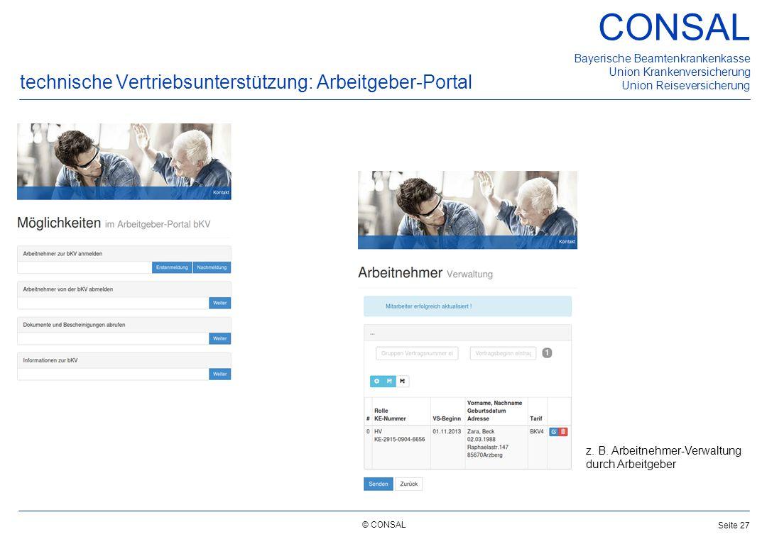 technische Vertriebsunterstützung: Arbeitgeber-Portal
