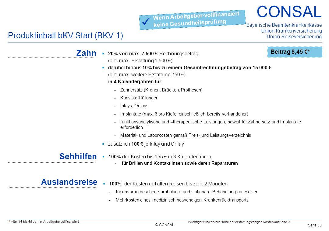  Produktinhalt bKV Start (BKV 1) Zahn Sehhilfen Auslandsreise