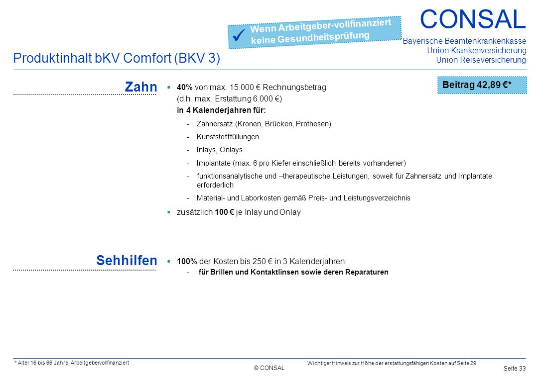  Produktinhalt bKV Comfort (BKV 3) Zahn Sehhilfen